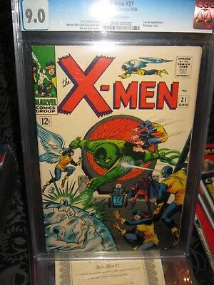 Marvel Comic Book Silver Age X-Men #21 CGC 9.0 1966 Stan Lee