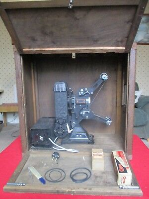9.5 Cine Projector, Pathescope, Vintage in Wooden Box from the 1930's