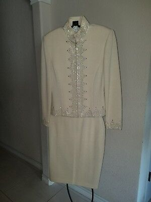 St John Evening Skirt Suit Cream Sequin Blazer Jacket Skirt Size 0/2
