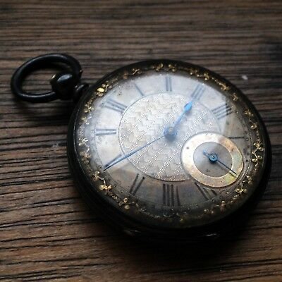 Antique Fine Silver Victorian Ornate Dial 45mm Open Face Pocket Watch - REPAIRS