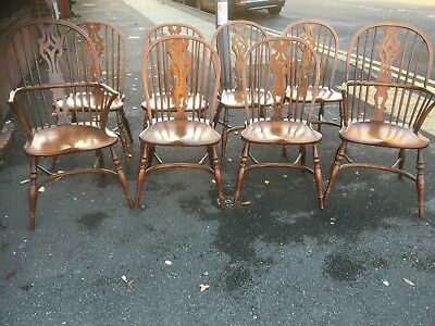 Set 8 Traditional Hand Made Windsor Chairs with Crinoline stretcher 2 Carvers