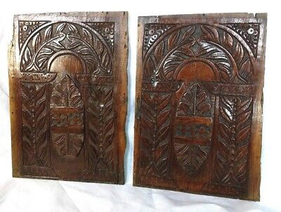 A Fine Pair of James I Carved Oak Panels c1610