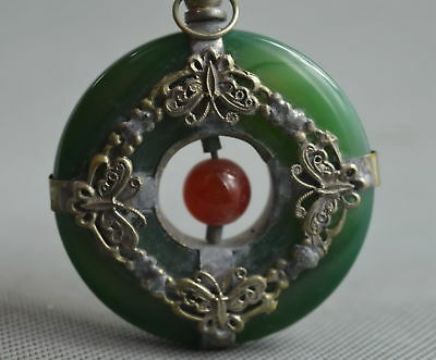 Collectable Handwork Miao Silver Carve Butterfly Inlay Jade Netsuke Art Pendant