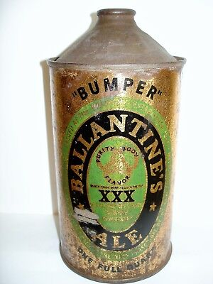 "BALLANTINE ALE ""BUMPER"" QUART CONE TOP Beer Can A147"