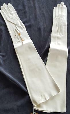 Vintage Above The Elbow Length Genuine Leather Gloves Made in Spain GORGEOUS
