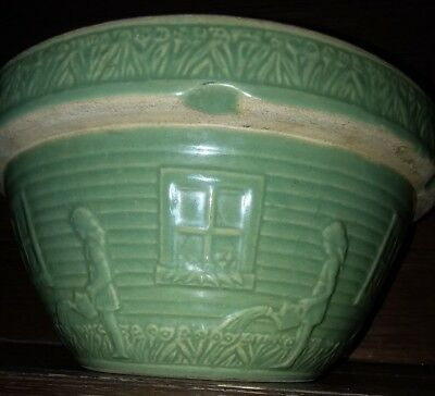 "Vintage Green Big 10"" Girl With Watering Can Yellow Ware Stoneware Mixing Bowl"