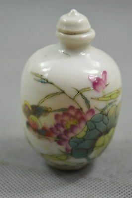 Collectable Old Rare Porcelain Handwork Paint Lotus Leaf Home Decor Snuff Bottle