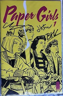 Paper Girls #1 Signed by Brian Vaughan, Cliff Chiang, + 2 More (Image)