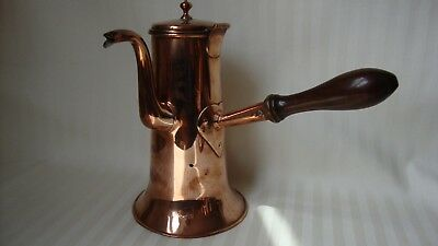 Georgian copper chocolate pot with turned wood side handle