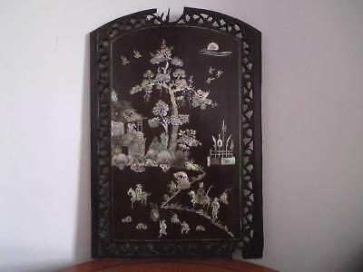 Antique Chinese Qing Mother Of Pearl inlaid carved wood panel cabinet fragment