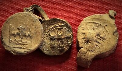 Lot of 3 Medieval Lead Seals 14. Century, Crown, Castle and Crayfish Symbol