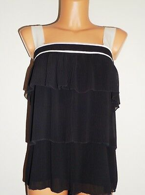 French Connection Ladies Beautiful Party Evening Black And White Top Size 12 Uk