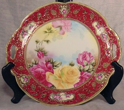 Japan Nippon Porcelain Red Yellow Pink Roses Cake Plate Server Maple Leaf Mark