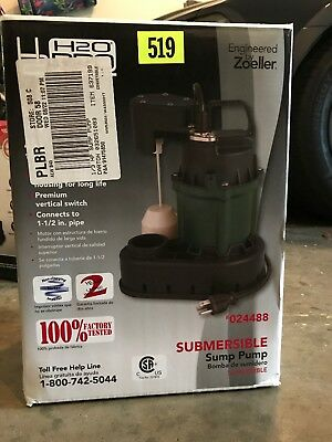 H2O PRO Zoeller 1/3 HP Cast Iron Submersible Sump Pump 024488 45 GPM 170 LPM new
