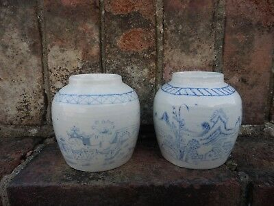 2 Old Vintage Oriental Chinese Blue And White Brush Pot Vase