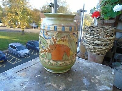 Stunning Art Deco Bursley Ware Vase Charlotte Rhead Signed To Base 7 1/4 In High