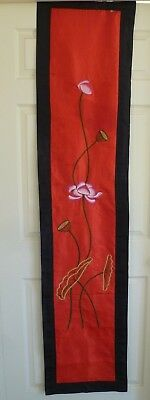 Vintage Silk Embroidery Panel Oriental Textile Art Wall Hanging / Runner