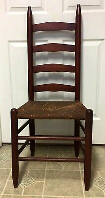 Beautiful Antique Vintage French Country Ladder Back Rush Seat Chair - Nice!!