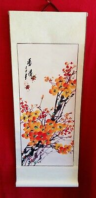 Hand Painted Chinese Japanese Asian Paper Scroll Orange Blossom Hanging