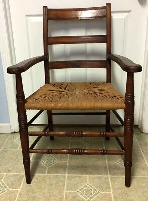 Antique  French Country Carved Spindle Wood  Ladder Back Arm Chair Rush Seat
