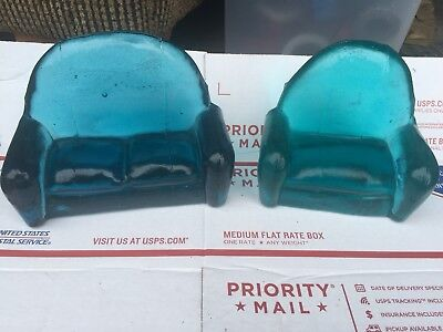 LIGHTHOUSE Glass Blue Love Seat And Chair Hand Cast New Orleans
