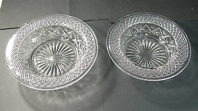 Pair vintage large clear glass Pillar candle holders