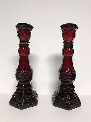 """Pair of Avon Cape Cod Ruby Red Glass Candlesticks Charisma Cologne Empty, 8 1/2"""""""
