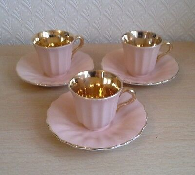 3 Vintage Wade Coffee Cups & Saucers English Bone China  Peach & Gold Lustre
