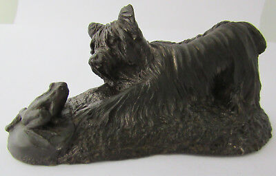 Rare Antique Scottie Dog Staring At Little Frog Figurine