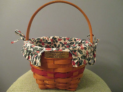 1994 Longaberger Red Jingle Bell Christmas Collection Basket with Tie-on-Liner