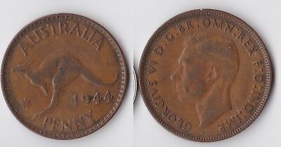 1944 Australia 1 penny coin with kangaroo