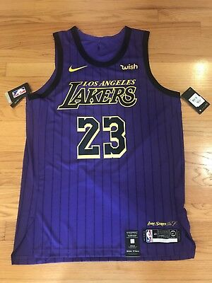 Lebron James  23 City Edition Nike Lakers Authentic Jersey Men s Large (48)  NWT 35582b912