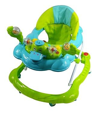 Baby Walker Push Along Green Duck First Steps Activity Musical Ride On Toys New