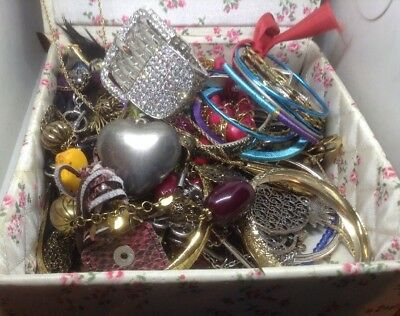 Large Lot Of Vintage To New Costume Jewelry Bracelets Necklaces Owl Heart