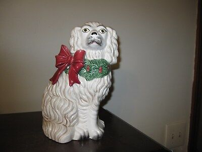 Fitz and Floyd Cavalier King Charles Spaniel Dog Planter Red Bow Holly Berries