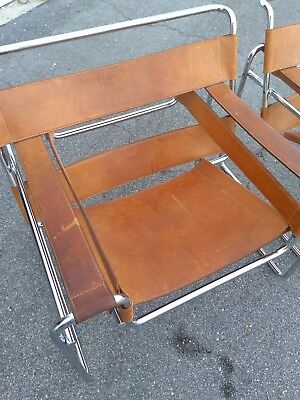 Pair of Leather Wassily Chairs   Local Pickup Only