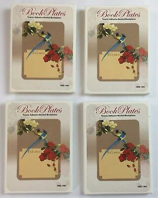 Book Plate Lot Birds & Flowers Design Adhesive Backed Laurel Ink Qty 4 /20 Pack