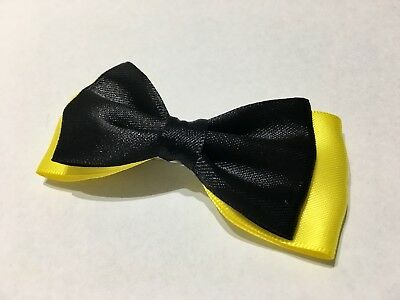 The Wiggles Emma Wiggle Inspired Hair Bow Clip Appro 8cm Black & Yellow Handmade