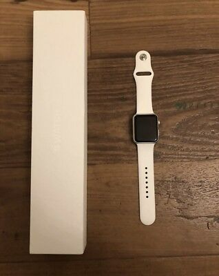 Apple Watch Series 1 42mm Silver Aluminum & charger + 2 Bands ( Blue / Pink )