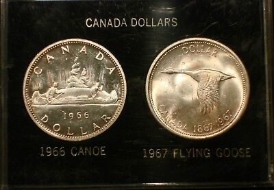 1966 CANOE and 1967 FLYING GOOSE CANADIAN SILVER DOLLAR * UNC MS +++ CHOICE BU