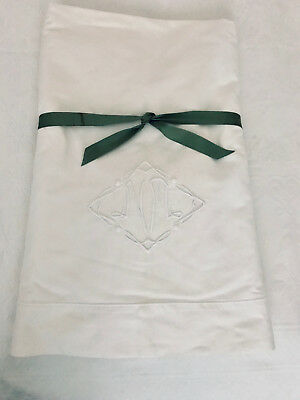 """VINTAGE WHITE MONOGRAMMED SHEET """"NM""""  - NICE WEIGHT - 82 x 110 - GREAT CONDITION"""