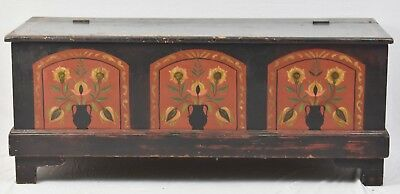 Pennsylvania Dutch Style 19th Century Hand Crafted Painted Blanket Chest