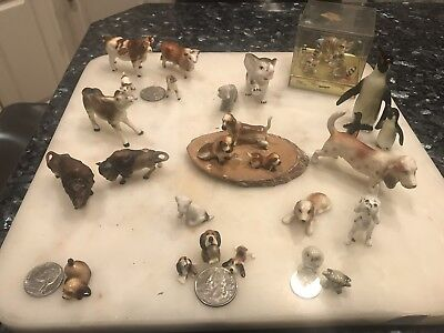28 Bone China Minuatures,penguins,buffaloes,cows,raccoons,owls,dogs,elephants