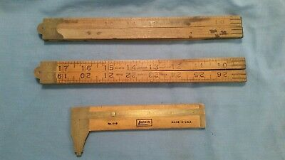Vintage lot of 3 Brass & Wood Lufkin Folding and caliper Rulers