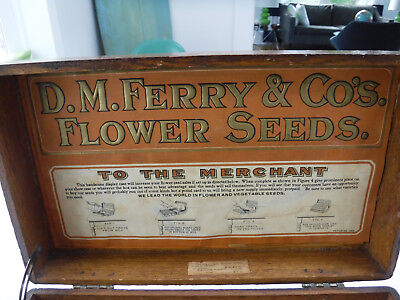 Antique D.M. Ferry & Co's. Flower Seeds Store Display Advertising Box Vintage