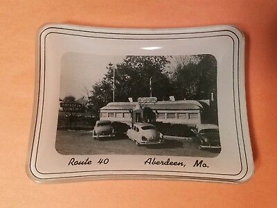 VTG 50s Frosted Glass Advertising Coin Ash Tray Dish Route 40 Aberdeen Diner MO