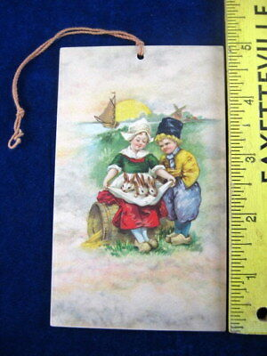 VTG Tally Card Little Dutch Boy and Girl w Bunny Rabbits Windmill Wooden Shoes