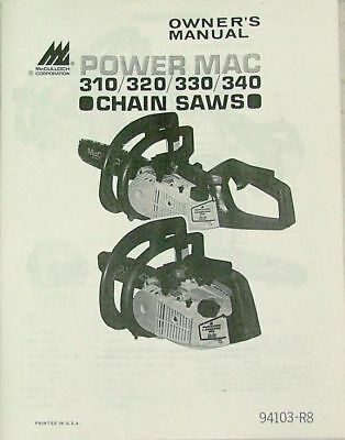 Brand New Owner's Manual McCulloch Power Mac Chainsaw 310, 320, 330, 340