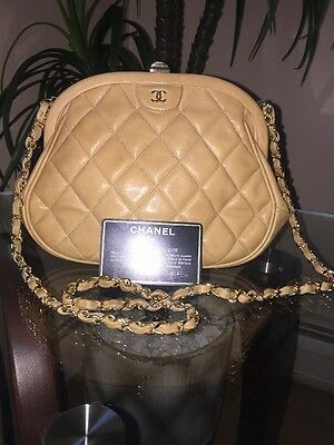 28756883788c Authentic Chanel Bag Shoulder Bag Clutch Vintage Beige  Tan Lamb skin
