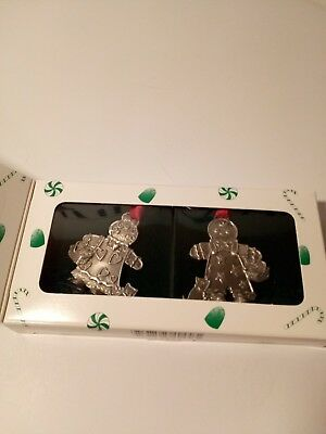Longaberger Ornaments, Pewter, Roger And Ginger, Set Of 2 New In Box